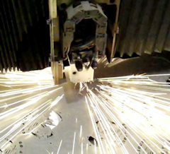 Laser Cutting with sparks from cut